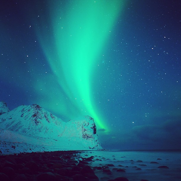 patagonia:  The aurora borealis in Norway. Photo by @chrisburkard
