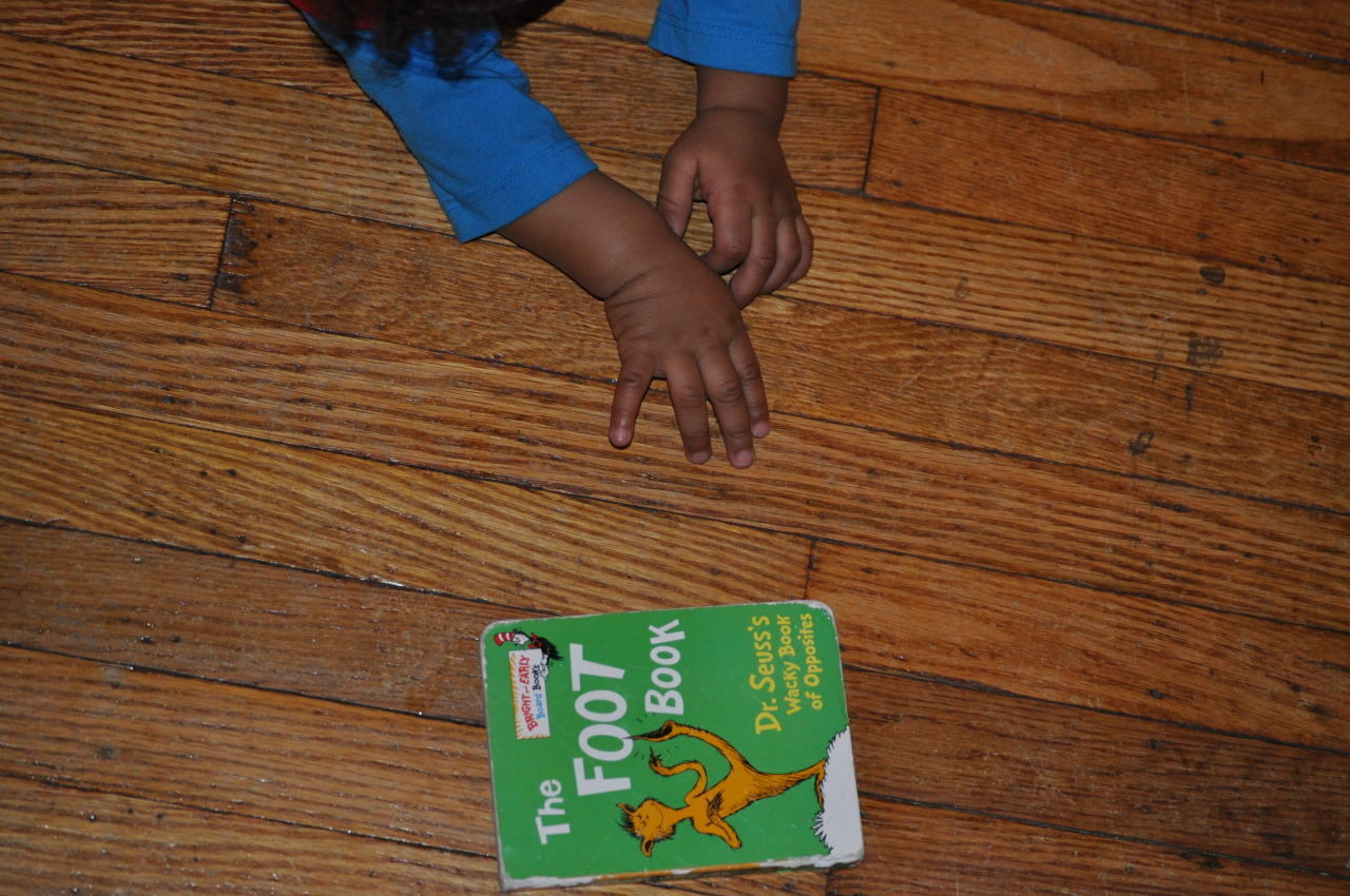 "Left foot, Left foot, right foot, right… ""dr. seuss's the foot book"" baby Zen LOVES this book. January 21, 2013"