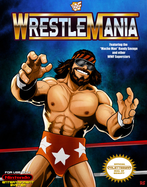 paletteswapblog:  Rusty Shackles P-Swaps Wrestlemania (NES) Don't forget to check Rusty's new project based off his 1up game/comic mergers, the INSERT QUARTER BIN!  CUP O' COFFEE IN THE BIG TIME
