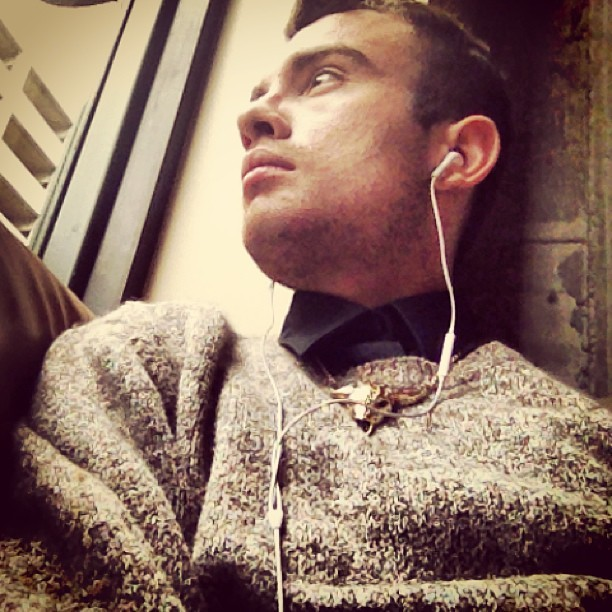 Concrete Jungle. #pdx #gayboy #concretejungle #sweater #individual #style #gold #necklace #bull #fashion #photography #gay  (at Starbucks)