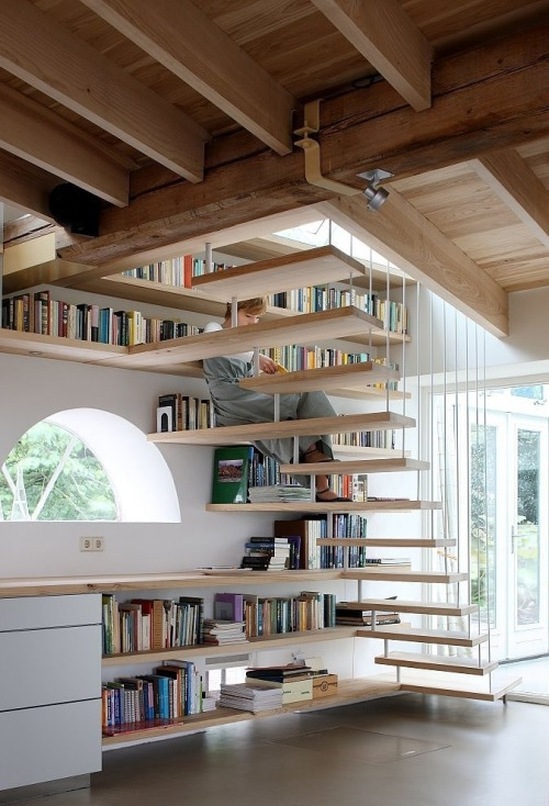 amandaonwriting:  Reading on the stairs