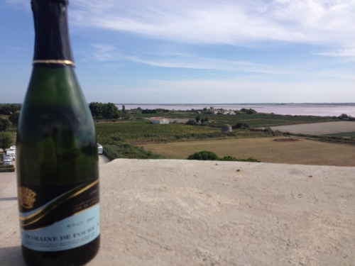 Champagne on top of a castle next to a pink sea. Can't get much better than that!