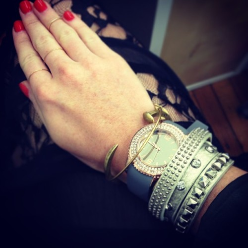 Today's #armparty:  The Roslyn Band Watch and Smythe Studded Wrap Bracelet are both available on sendthetrend.com!  (at Send the Trend HQ)