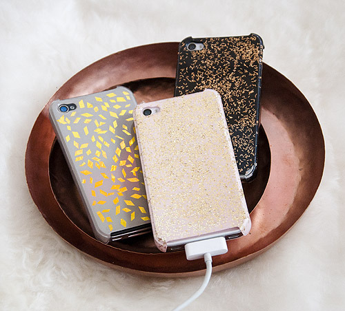 DIY iPhone Cases: Repurposing Holiday Glitz  via Design*Sponge