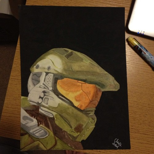 torteen:  tunabitch:  Finished my watercolor of Master Chief! I hope my husband likes it! :/ #halo   Wow, this is great!  Thank you! :)