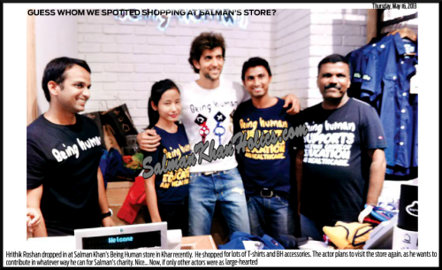 ★ Guess whom we spotted shopping at Salman's store?  Hrithik Roshan dropped in at Salman Khan's Being Human store in Khar recently. He shopped for lots of T-shirts and BH accessories…