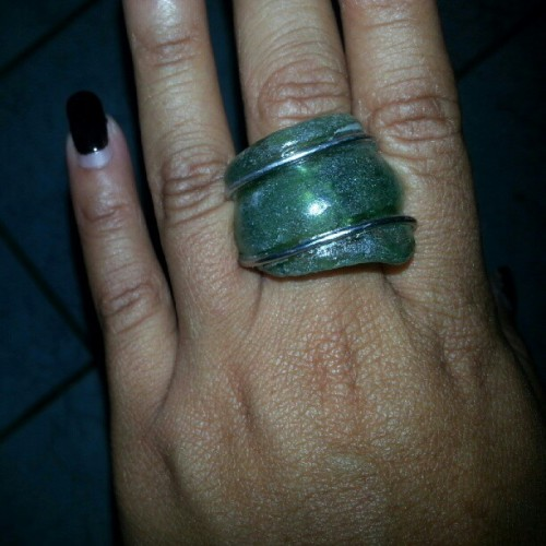 Supporting #local #artistry! #ring made of glass found on the #shores of #curacao. #handmade #islandlife #creative