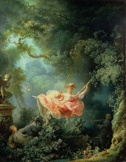 The Swing, Jean-HonoréFragonard (1767) The Wallace Collection, London, England  One of the highlights of my life is, and always will be, seeing this painting in person. Gosh it's so beautiful.
