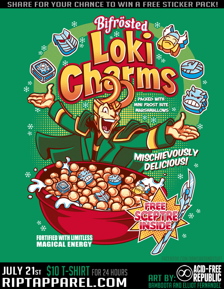 "christopherjonesart:  Genius: Bifrosted Loki Charms ""Mischievously Delicious!"" by ~Bamboota  This is brilliant. :)"