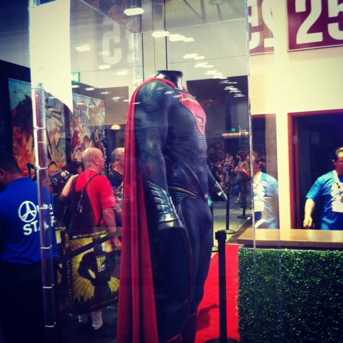 Here's a photo I took of the #ManOfSteel suit from San Diego Comic Con 2012.