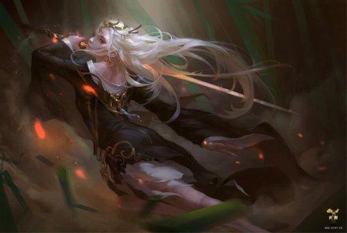 digital art painting fantasy sword wind