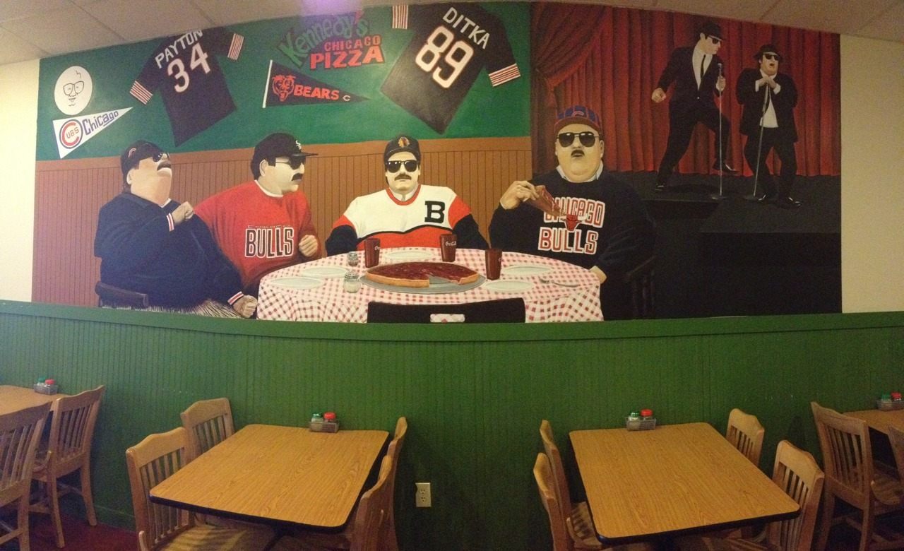 This was a mural where Evan, Frank, and I had Chicago style deep dish pizza for lunch after our tuxedo fittings. It was the best.