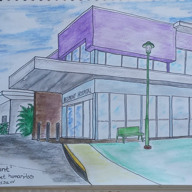 """""""Belmont"""": #ink #sketch #watercolor (at Belmont Private Hospital)"""