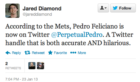 Not only did Pedro Feliciano rejoin the Mets, but he's on Twitter AND he's got a sense of humor? This is all very excellent.