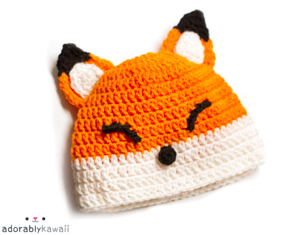 Fox Baby Hat Pattern Update! The pattern is going to be available in these sizes: 0-3mo, 3-6mo, and 6-12mo. I wanted to do several more sizes but then it'll take longer to get the pattern out so I might do those at a later time.  These hats are going to look slightly different from the original one because I'm making them in a different gauge. After I'm done making the 6-12mo size, I need to figure out the detail work (sizes, placement), take step by step photos, and then find little ones to model the hats.