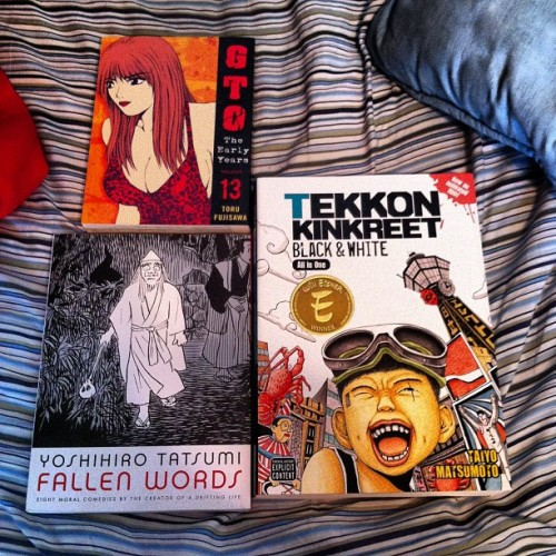 comics-tillyoubleed:  Aw yea new books #tekkonkinkreet #gto #fallenwords #tatsumi #graphicnovels #comics #manga  Nice Pickups!
