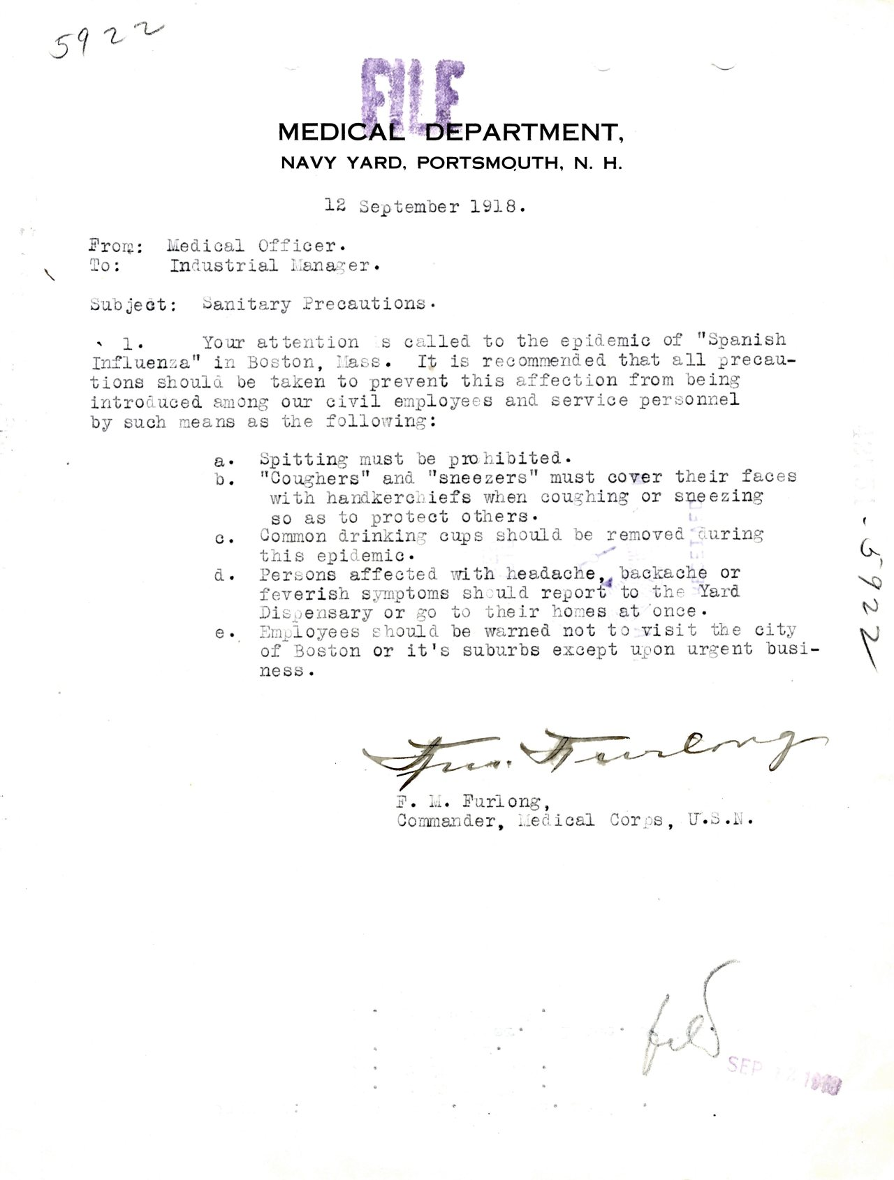 Memorandum Regarding Sanitary Precautions, 09/12/1918From the General Correspondence file of the Portsmouth Navy Yard         The 1918 Influenza Epidemic would kill more than World War I, and more than any other illness.  More at The Deadly Virus: The Influenza Epidemic of 1918