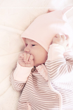Cute sleepy newborn baby girl in a hat with ears on Flickr.