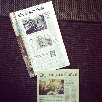 Amazing customer service - my very own copy of the Globe along with the LA Times! (at Malibu Beach Inn)