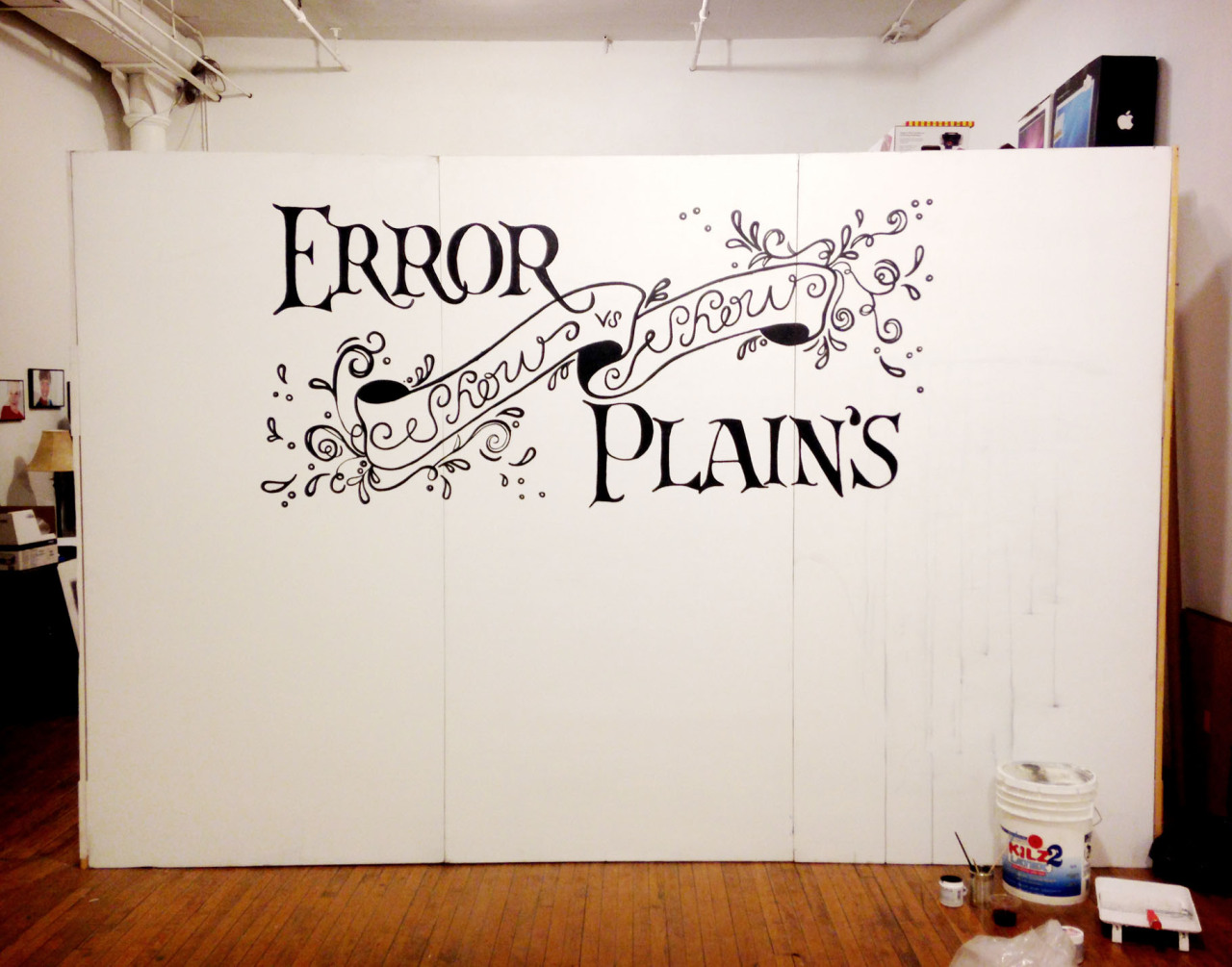 Hand-lettered type painted at the Error Plain gallery in Pilsen for one of their 2nd Fridays events.
