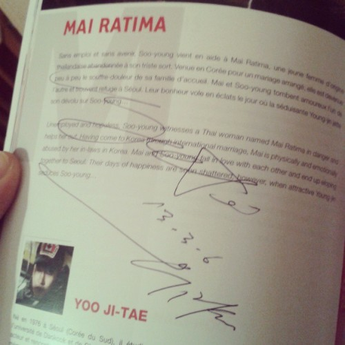 CRYING! I've got Yoo Ji-Tae's sign <3 #asianmoviefestival #deauville