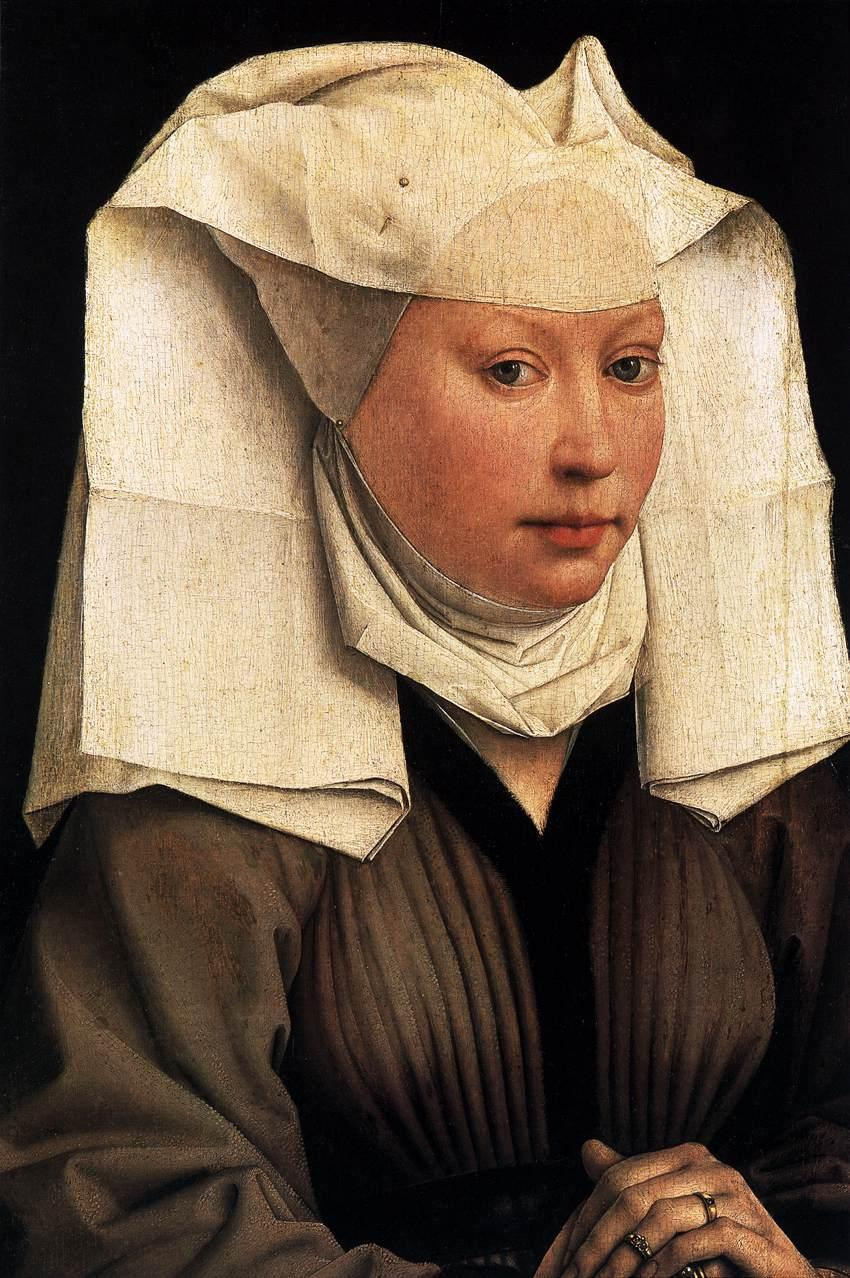 gothypants:  Rogier van der Weydan, c. 1435, Lady Wearing a Gauze Headdress
