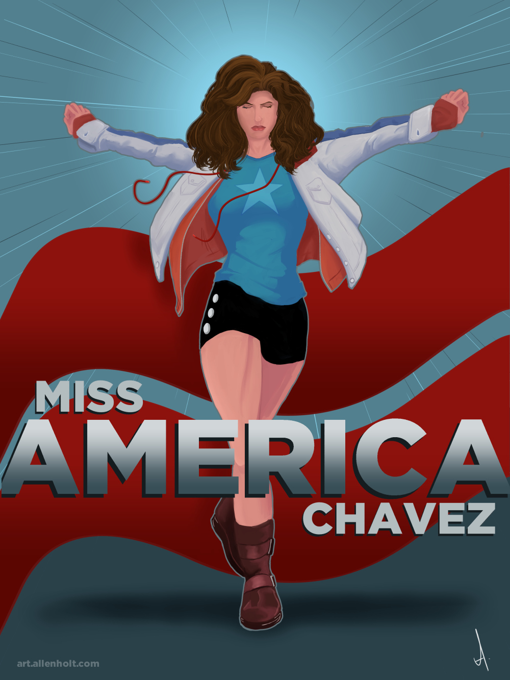 Miss America Chavez from Kieron Gillen and Jamie McKelvie's Young Avengers, possibly my favorite comic right now.  This was done entirely in Manga Studio 5 - the first piece I've done in the new verison. And holy schnikies, is it ever incredibly sweet.