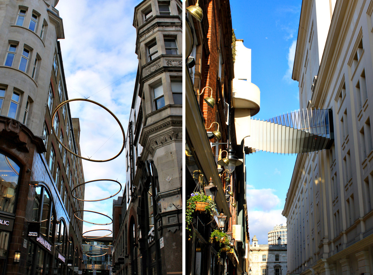 Don't forget to look UP in London! Big hula hoops and twirly walkways.