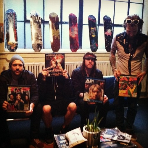 @theused talk about their favorite AP cover for our new video series #offthewall Trust us. You don't want to miss it. @takeactiontour #theused #altpress #headautomatica #fionaapple #nirvana #outkast