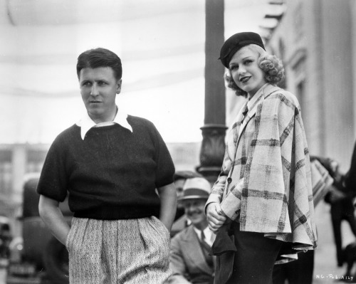 paradoxicaldaydreams:  George Stevens and Ginger Rogers on the set of Swing Time (1936)