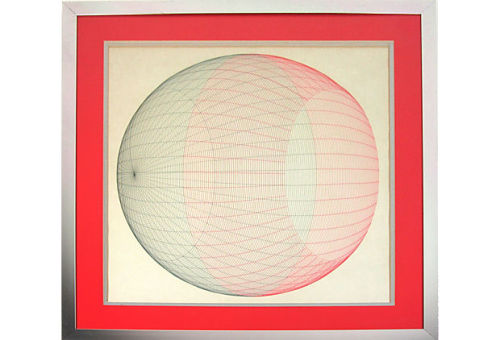 Midcentury drawing in colored pencil on paper of a sphere in pink and gray. Displayed in a silver metal frame with a double mat. by Ruby + George on One Kings Lane Vintage and Market Finds