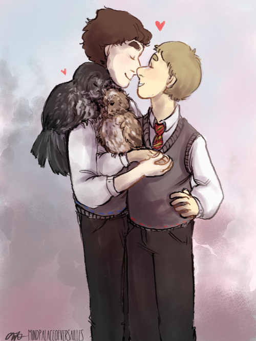 "mindpalaceofversailles:  Potterlock double date ♥~ (the owls are from ""Of a Castle Dreaming"" because I was not imaginative enough to think of pets of my own and that fic is really cute so far!)"