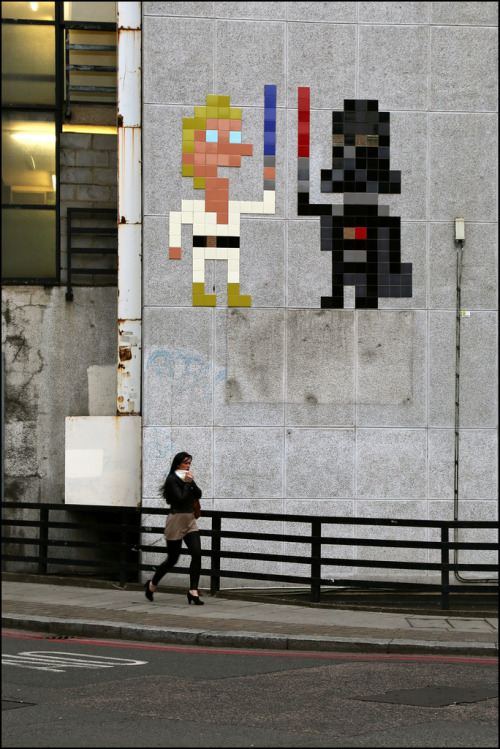 stencils:  Invader in London (by Alex Ellison)