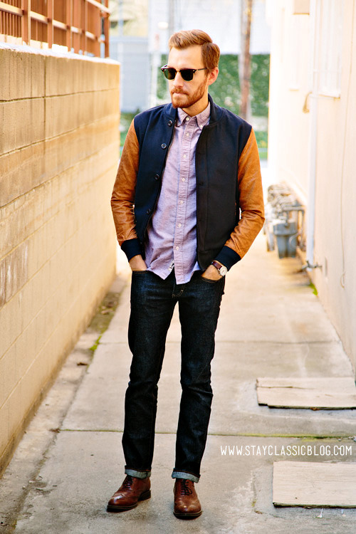 December 27, 2012. Jacket: Varsity Jacket Shop - $78Shirt: Purple Oxford - CCS - $20 (similar)Jeans: 484 in Resin Crinkle - J. Crew - $69 (after coupon)Shoes: Stafford Ashton - JCPenney - $60 (similar)Sunglasses - Ray Ban Clubmaster - $89Watch: Timex Easy Reader - Target - $29
