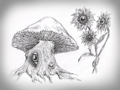 overidealism:  Mushroom tree and Eyeball flowers kaylie lucas by ~Kaylie444