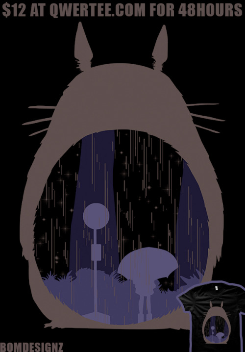 Rainy Day is a t-shirt thats on sale at qwertee.com for only $12 and for only 48 hours. Limited print of the Totoro design. By Bomdesignz.