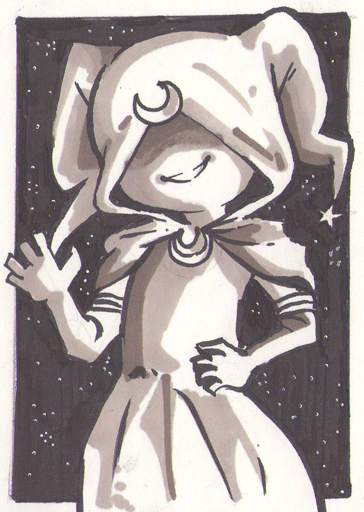 Another artist trading card! This is Ellen's character Joka (I think) from her Nolan and Gwen comic. I chose her because she reminds me of a Clow Card from Cardcaptor Sakura Sooo I thought I already uploaded this but it was chilling in my drafts for an embarassing length of time.