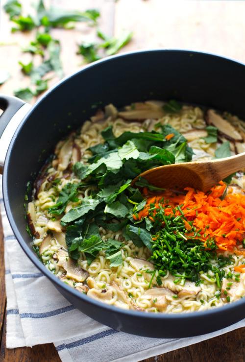 food pasta noodles ramen ramen noodles carrots mushrooms kale