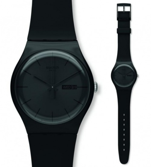 BLACK REBEL BY SWATCH We're on this throwback trip, loving everything from our youth, and we'd be remiss if we didn't mention our favorite time keeper Swatch. The amazing thing about the watchmaker is their ability to stay relevant without having to change too much. Our favorite piece from their New Gent collection is this monochrome watch aprly named the Black Rebel. This watch is so tough, even the day and date display is black on black. You can get yours HERE and wear black on the outside regardless of how you feel on the inside.