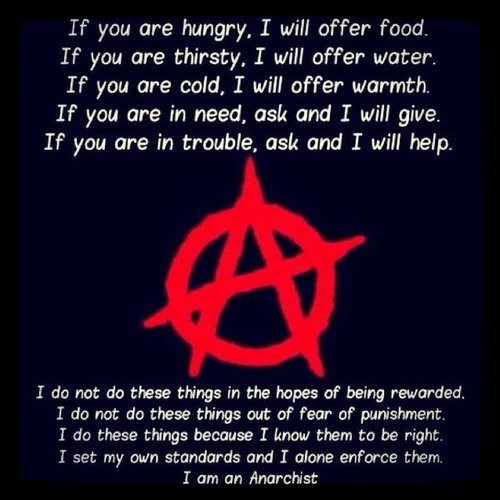 "To all of you motherfuckers who think anarchy is about flipping cars and burning shit, pay heed to this.  Anarchy is about non-systematic humanity which functions properly and peacefully without a governmental body keeping people in line.   To all of you ""anarchists"" who believe the same thing as the previously stated motherfuckers, catch a different bandwagon.  You're doing it wrong. xoxo, Z"