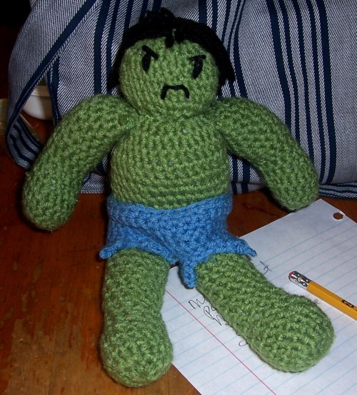 For Mother's Day Mommy asked me to make her the Hulk! Here he is in all his grumpy crocheted glory.