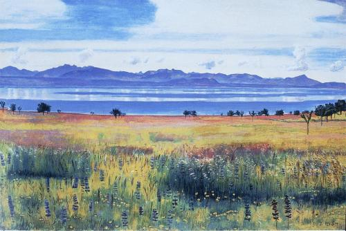 kecobe:  Ferdinand Hodler (Swiss; 1853–1918) Lac Léman vu de Saint-Prex = Lake Geneva from Saint-Prex Oil on canvas, ca. 1901 Sotheby's, Zurich