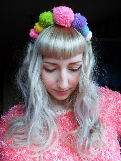 bluddyholly:  kamikazegirl:  hoodratroughdiamond:  So I saw a pom-pom headband in Company magazine and decided to make one for myself and I adore it so much. My lovely sweet post office man said that I looked like a rainbow, so I went home and made another and popped it in my shop. Now we can all be rainbows together.  So damned pretty and that is an awesome headband! I expected no less though :p xx  Just purchased 💗