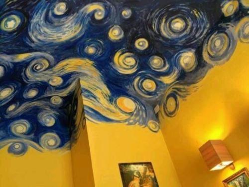 van gogh starry night art bedroom