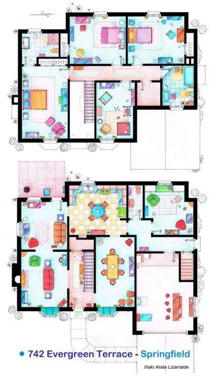 Hand-Drawn Floor Plans of Popular TV Show Apartments and Houses Iñaki Aliste Lizarralde, a Spanish interior designer, has hand-drawn a series of floor plans for popular television character residences. Can you guess whose house this is?