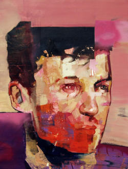 Andrew Salgado, MaskOil on canvas with spray paint