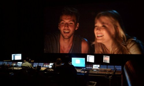 Preliminary Sound Mix: Guy Burnet and Ashley Hinshaw on screen at the Sony sound stage during the beach bonfire scene.   via Rites of Passage on facebook