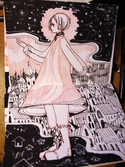 maruti-bitamin:  Doodle. Finally started to use one of the many sketchbooks I'd sewn up.
