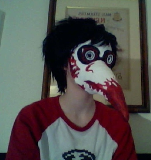 "I borrowed Maren's Heinoustuck Dave mask and half assed a ""cosplay"" it's been a fun sleepover!"