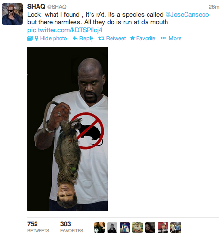 Shaq is trolling hard on Twitter right now.
